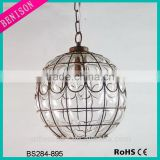European like hot selling glass ball pendant lamp industrial vintage with rustic metal wire