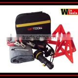 Car emergency safety kit with double warning triangle