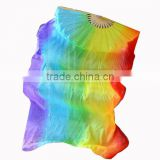 Fashion Color 1 Pair Dancing Charmeuse Silk Bamboo Rainbow Veils Fan Belly Dance