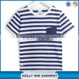 Simple style pocket blue striped children t-shirts light up t shirts for kids bulk sale