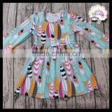 Fashion Wholesale Long Sleeve Baby Girls Boutique Outfits Fall Clothing Smocked Tutu Dress Party Wear Funny Skirts Clothes Store