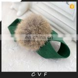 Fashion girl bow tie rabbit fur ball pompom hairband hand made elastic