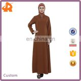 customize high quality beautiful dubai abaya,brown women kaftan abaya with special collar in China
