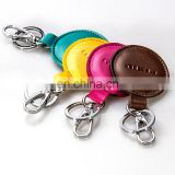 Genuine Cow Leather Key Chain Key Ring Key Bag Folding Case with Metal Hooks