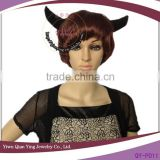 Cheap short synthetic ox horn brown halloween party wigs