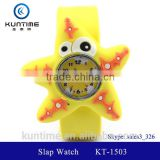 cute starfish slap watch glass face quartz movt silicone strap round clock movement watch