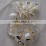 12*16cm white transparent printed with glitter gold hearts organdy present bag for Christmas/Bottle/Easter/Gifts wrapping
