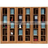 New fashion wooden glass display cabinet office filing cabinet wood bookcase (SZ-FCB343)
