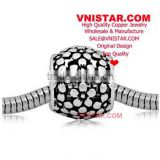 Vnistar antique silvr plated European copper alloy beads, copper flower blossoms shape beads for bracelet CEB004