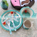 2016 Bamboo Fibre Baby Bowl Cup Dish Spoon Kids Dinner Set Gifts,Kids Tableware