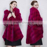 QD80627 European Ladies Whole Mink Fur Long Coat Woman's Red Plaid Winter Warm Coats 2015