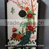 Chinese antique furniture custom-made pine wood Shanxi flower-and-bird painting two door two drawer clothes cabinet