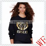 2014 alibaba China Cotton/Polyester Fashion women hoody black pullover girl hoody