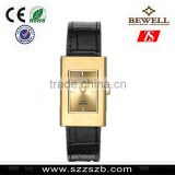 Bewell trendy hot solid stainless steel watches with sapphire glass Miyota movement genuine leather band men watches