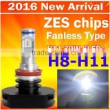 2016 factory direct supply car LED headlight bulb H8 H11 30W 3000LM with 6pcs LEDs auto headlamp with ZES chips no Fan design