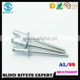 HIGH QUALITY FACTORY OPEN HEAD ALUMINUM RIVETS STAINLESS STEEL STEM MULTI-GRIP BLIND RIVETS