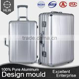 HLW aluminum metal suitcase 3 piece trolley luggage sets