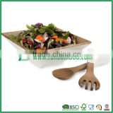 bamboo salad bowl set with serving spoon and fork, wooden fruit bowl