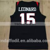 New style basketball jersey design 15 Kawhi Leonard San Diego State College short sleeve basketball jersey