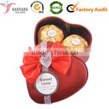 Small pretty bow knot gift chocolate packaging tin metal box for sweet heart girl friend kids