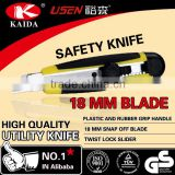 18 mm Sliding Blade Plastic with rubber grip handle Utility Knife