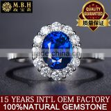 18K Gold Inlay Natural sapphire ring female no burn Sri Lanka gem