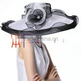 White and Black Women Kentucky Derby Church Dress Organza Hat Wide Brim Flat Hat