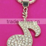 crystal music note shaped key chain/keyholder,with factory audit,various designs and colors