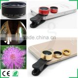 For iPhone Camera Lens Set 0.63x wide angle 198 degree super fisheye 15x macro lens kit with universal lens mounts
