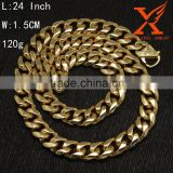 In Stock Factory Wholesale Gold Necklace with Party Jewelry 18K Gold Chain 15 MM Width Stainless Steel Cuban Link Chain                                                                         Quality Choice