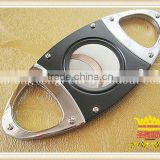 Black cigar scissors, stainless steel plating Color wood double cigar cutter, double shear cigar cutter,cigar scissors