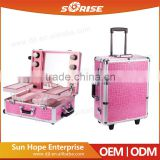Fashion Design Large Clear Acrylic Top Lighting Professional Makeup Beauty Trolley Case With Stand