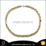 316 L stainless steel jewelry two tone byzantine chain necklace