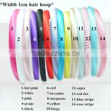 Wholesale Solid And Printed 1cm Width Grosgrain Ribbon Hair Hoops,Plastic Girly Hair Band