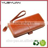2015 China Supplier Most Popular Zipper Card Pocket Design High Qaulity Women Leather Wallet