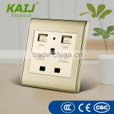 EU/UK/US Type dual AC plugs outlet double USB ports wall switch socket with CE RoHS approval