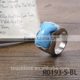 Hot Selling Sky -Blue Bear Design Ring, Titanium Silver 316l Stainless Steel Rings For Friendship