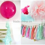 "NEW complete party decoration kit - pastel magic - 2 giant 36"" balloons with tassels + 10 pom poms + tassel garland"