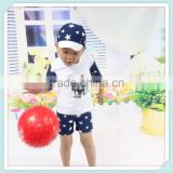 New Fashionn Baby Boy One Piece Swimsuit Navy Blue Star Kids Swimwear for Boys Diving Suit for 2-8Y With Sun Hat