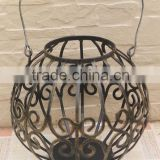 factory wholesale garden decor metal crafts antique small round lantern candle holder