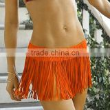 Sexy Women Cover up Fringe Swimwear Beach Skirt Crochet Knit Bikini Mini Dress