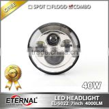 7in 40W round automotive 4x4 truck trailer off-road vehicles high power sealed dual beam led headlamp with H4 plug halo ring
