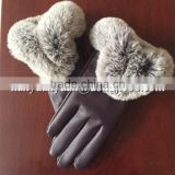 well touching screen suede fashion winter fur fingerless leather gloves