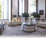 Italy New Design Living Room L-Shape Sofa Couch/ Retro Fancy Elegant Fabric Reclining Sofa Daybed Sectional Sofa Set