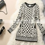 low price ladies black and white striped sweater dress