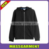 High Quality Custom Plain 100%Cotton Longline Stringer Pouch Pocket Full-Zipper men Hoodies