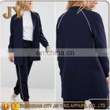 China Wholesale OEM Service Sport Style Women Navy Longline Bomber Jackets with Raglan Sleeve JYABF013