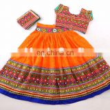 Exclusive Cotton Chaniya Choli -ORANGE BANDHANI COLOR BANJARA KUCHI WORK RAMLEELA STYLE CHANIYA CHOLI