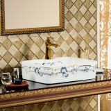 square shape beautiful flower decal above counter art basin sink wash basin for bathroom