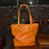 Large Genuine Leather Handbag Vegetable Tanned Soft Leather Woman Tote Bag